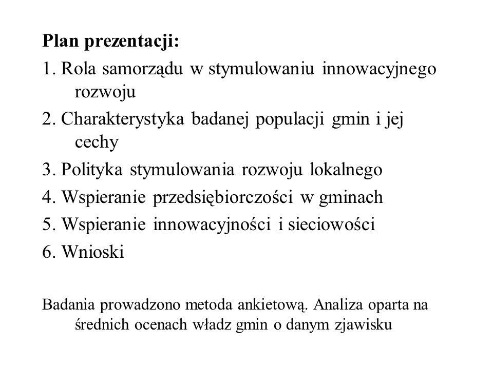 Plan prezentacji: 1. Rola samorządu w stymulowaniu innowacyjnego rozwoju 2. Charakterystyka badanej populacji gmin i jej cechy 3. Polityka stymulowani