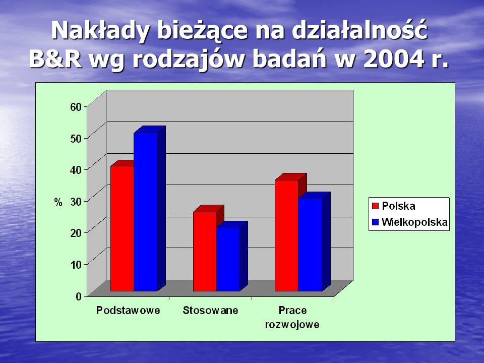 Nakłady bieżące na działalność B&R wg rodzajów badań w 2004 r.