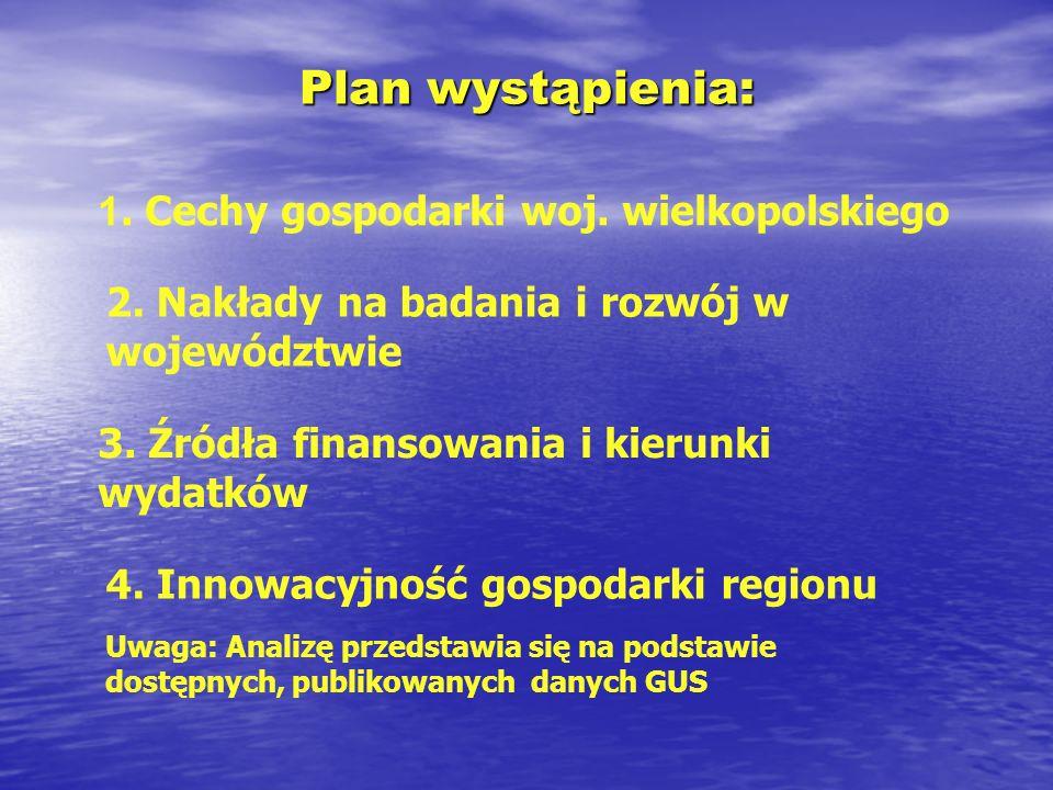 Plan wystąpienia: 1. Cechy gospodarki woj. wielkopolskiego 2. Nakłady na badania i rozwój w województwie 3. Źródła finansowania i kierunki wydatków 4.