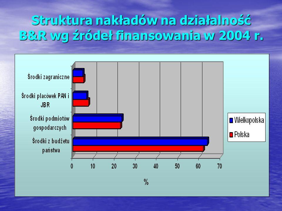 Struktura nakładów na działalność B&R wg źródeł finansowania w 2004 r.