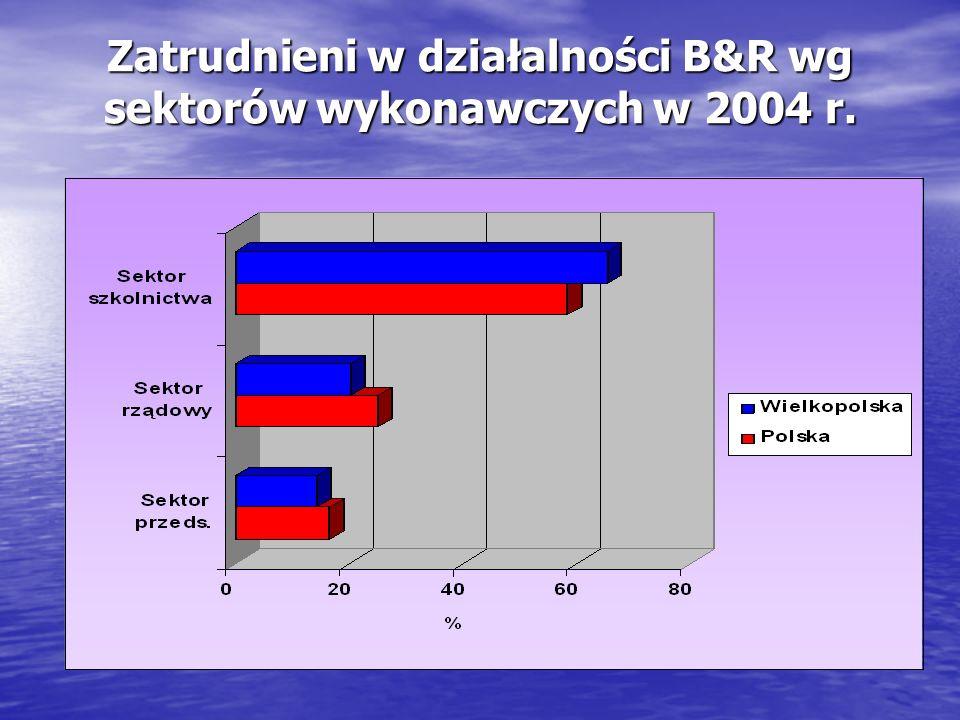Zatrudnieni w działalności B&R wg sektorów wykonawczych w 2004 r.