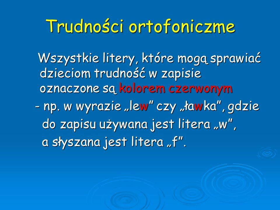 Trudności ortofoniczme Wszystkie litery, które mogą sprawiać dzieciom trudność w zapisie oznaczone są kolorem czerwonym Wszystkie litery, które mogą s