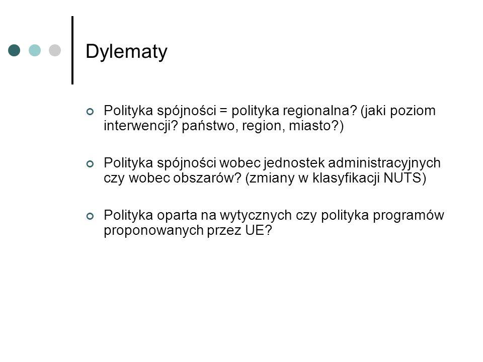 Dylematy Polityka spójności = polityka regionalna? (jaki poziom interwencji? państwo, region, miasto?) Polityka spójności wobec jednostek administracy