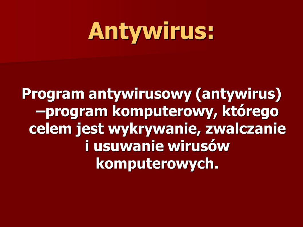 Współcześnie najczęściej jest to pakiet programów chroniących komputer przed różnego typu zagrożeniami.