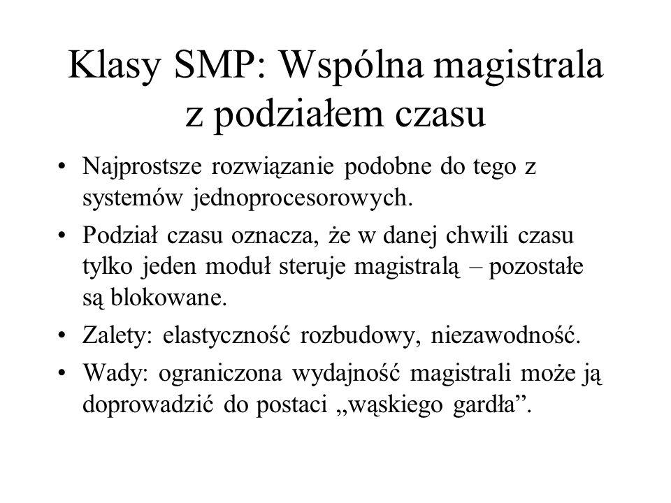 Klasy SMP: Wspólna magistrala z podziałem czasu Najprostsze rozwiązanie podobne do tego z systemów jednoprocesorowych.