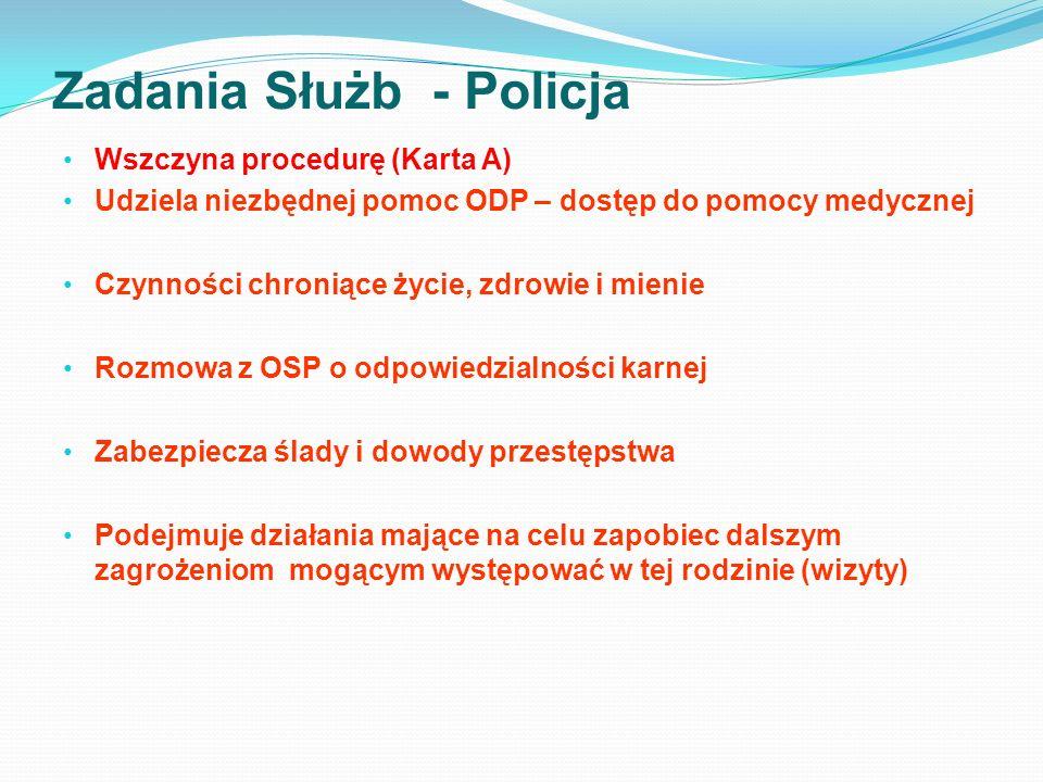Zadania Służb - Policja Wszczyna procedurę (Karta A) Udziela niezbędnej pomoc ODP – dostęp do pomocy medycznej Czynności chroniące życie, zdrowie i mi