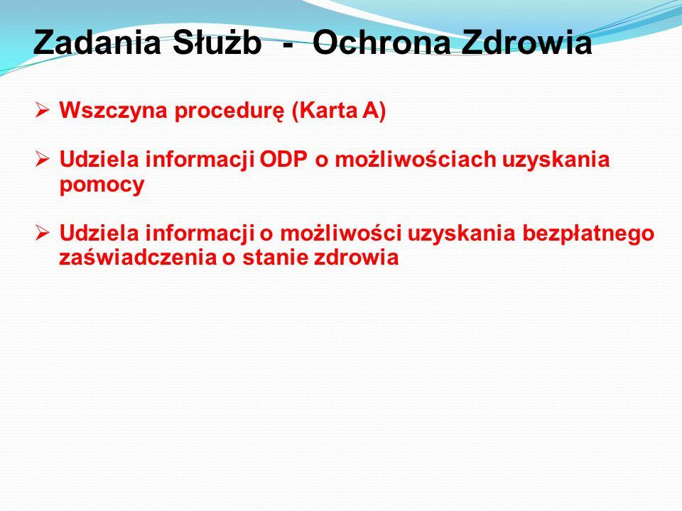 Zadania Służb - Ochrona Zdrowia Wszczyna procedurę (Karta A) Udziela informacji ODP o możliwościach uzyskania pomocy Udziela informacji o możliwości u