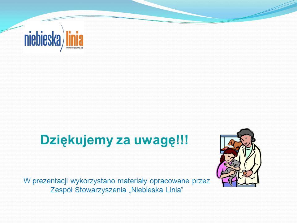 Dziękujemy za uwagę!!! W prezentacji wykorzystano materiały opracowane przez Zespół Stowarzyszenia Niebieska Linia