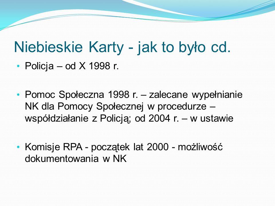 Niebieskie Karty - jak to było cd. Policja – od X 1998 r. Pomoc Społeczna 1998 r. – zalecane wypełnianie NK dla Pomocy Społecznej w procedurze – współ