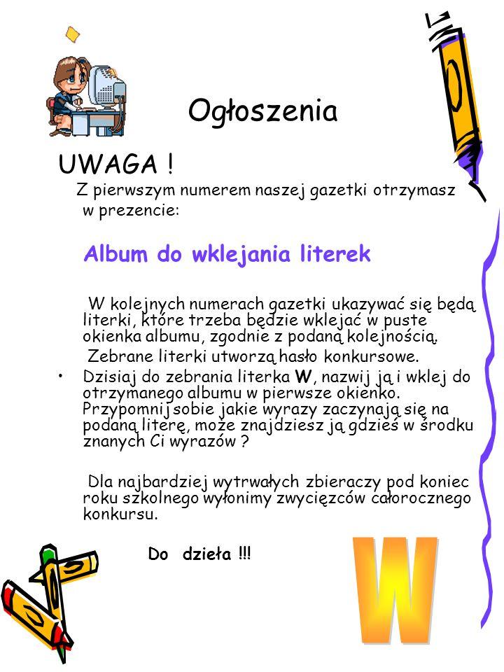 Ogłoszenia UWAGA .