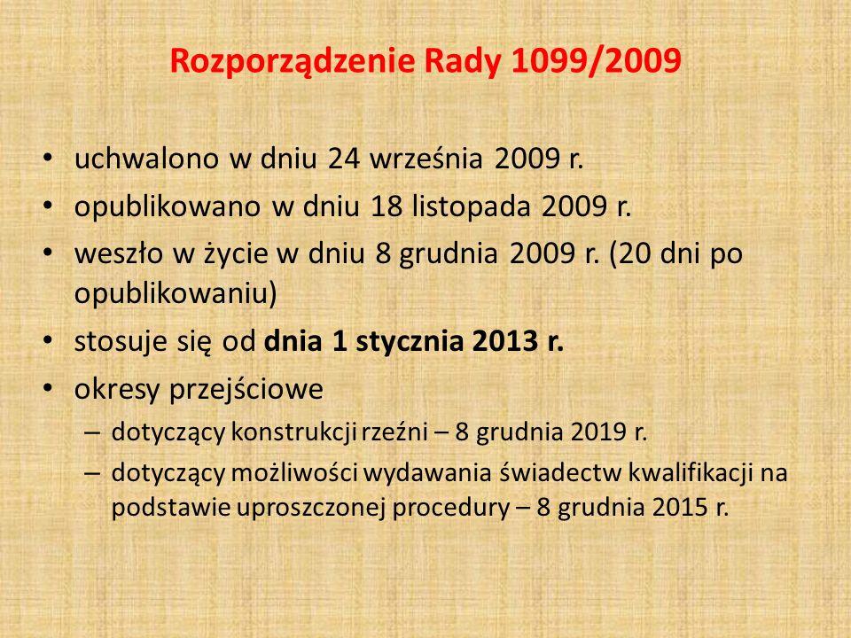 Rozporządzenie Rady 1099/2009 uchwalono w dniu 24 września 2009 r. opublikowano w dniu 18 listopada 2009 r. weszło w życie w dniu 8 grudnia 2009 r. (2