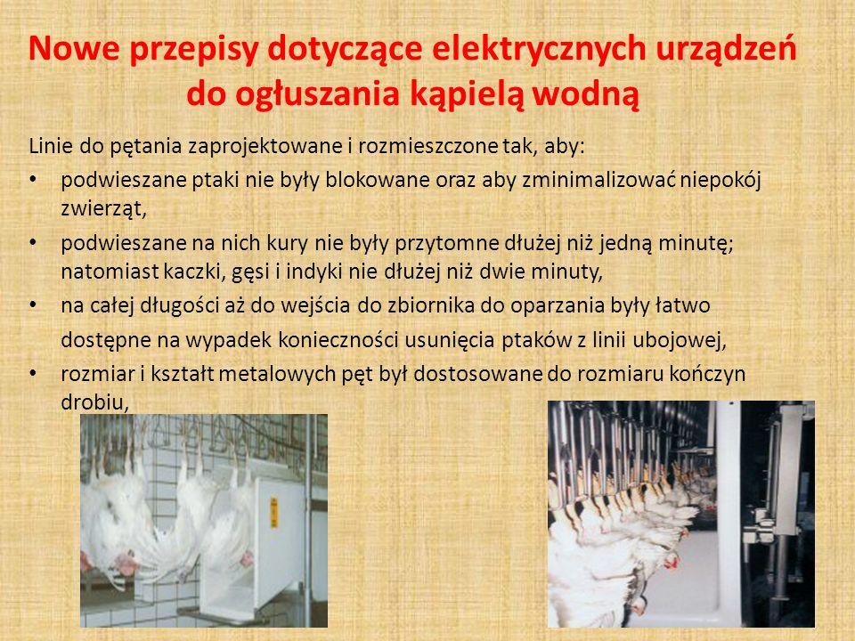 Nowe przepisy dotyczące elektrycznych urządzeń do ogłuszania kąpielą wodną Linie do pętania zaprojektowane i rozmieszczone tak, aby: podwieszane ptaki