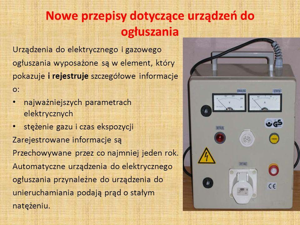Nowe przepisy dotyczące urządzeń do ogłuszania Urządzenia do elektrycznego i gazowego ogłuszania wyposażone są w element, który pokazuje i rejestruje