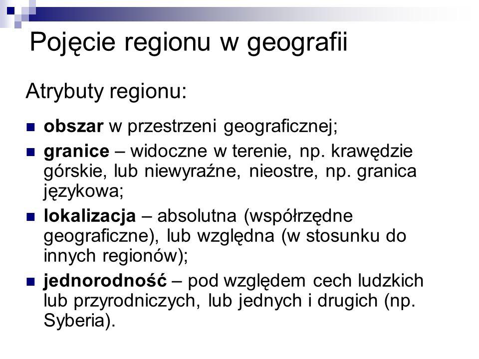 Pojęcie regionu w geografii Atrybuty regionu: obszar w przestrzeni geograficznej; granice – widoczne w terenie, np.