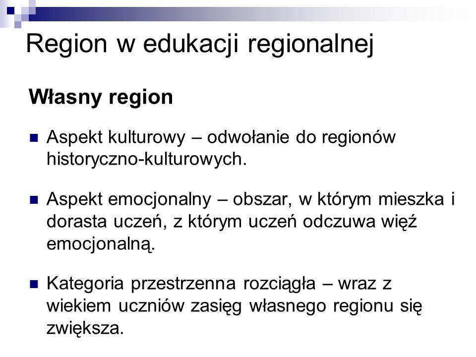 Region w edukacji regionalnej Własny region Aspekt kulturowy – odwołanie do regionów historyczno-kulturowych.