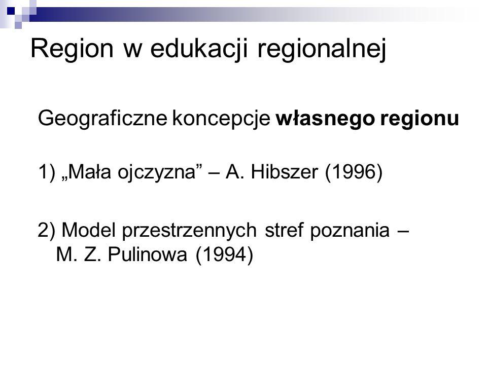 Region w edukacji regionalnej Geograficzne koncepcje własnego regionu 1) Mała ojczyzna – A.