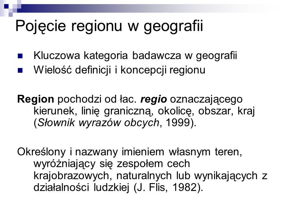 Pojęcie regionu w geografii Kluczowa kategoria badawcza w geografii Wielość definicji i koncepcji regionu Region pochodzi od łac.