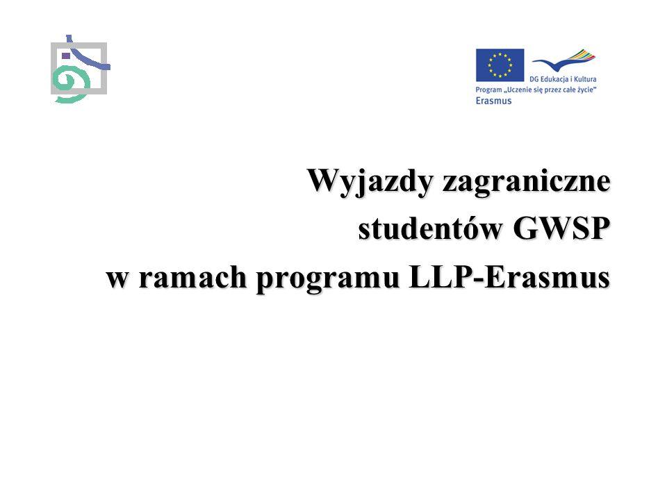 Informacje ogólne Co to jest program LLP-Erasmus tworzenie warunków organizacyjnych umożliwiających międzynarodową wymianę studentów wsparcie finansowe wymiany studentów – stypendia Wyjazdy mogą być realizowane wyłącznie gdy: Uczelnia macierzysta posiada Kartę Uczelni Erasmusa (Erasmus University Charter) Uczelnia macierzysta podpisała umowy o wymianie studentów z innymi europejskimi uczelniami