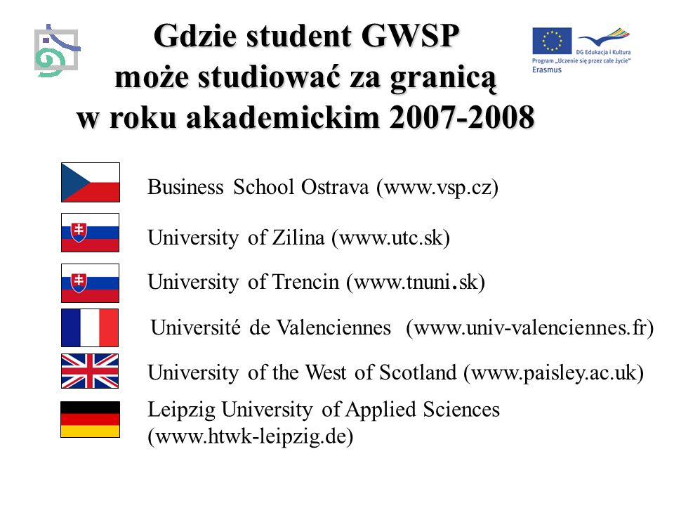 Gdzie student GWSP może studiować za granicą w roku akademickim 2007-2008 Business School Ostrava (www.vsp.cz) University of Zilina (www.utc.sk) University of Trencin (www.tnuni.