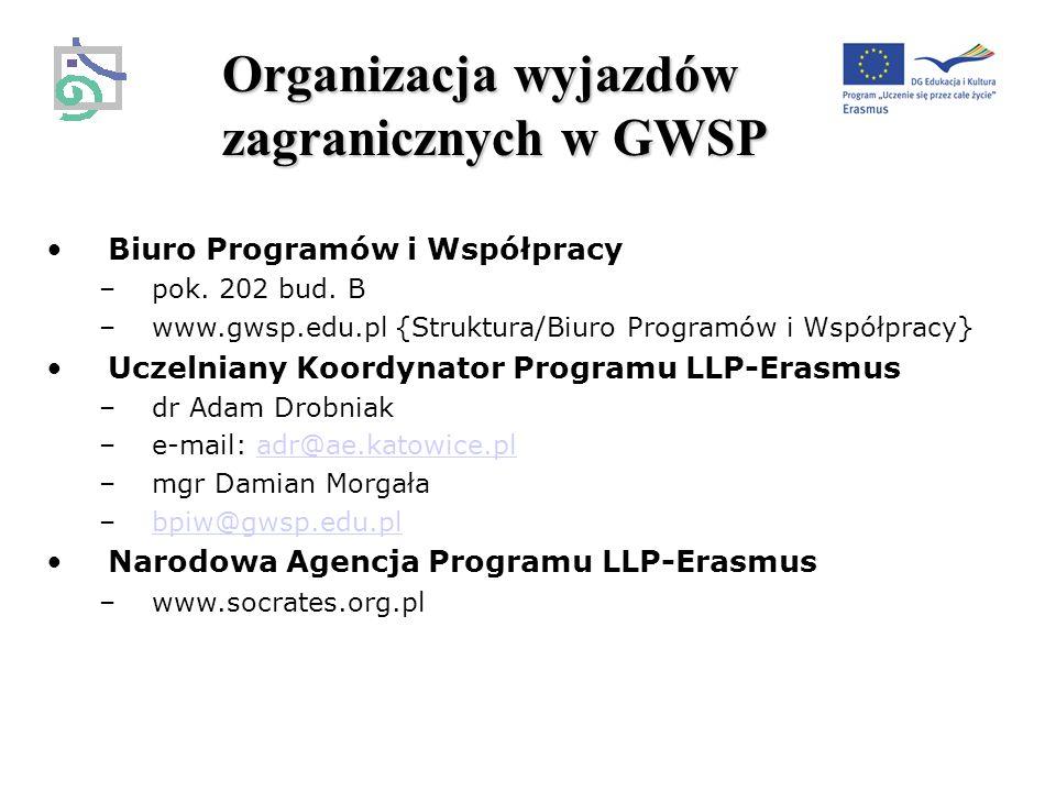 Organizacja wyjazdów zagranicznych w GWSP Biuro Programów i Współpracy –pok.
