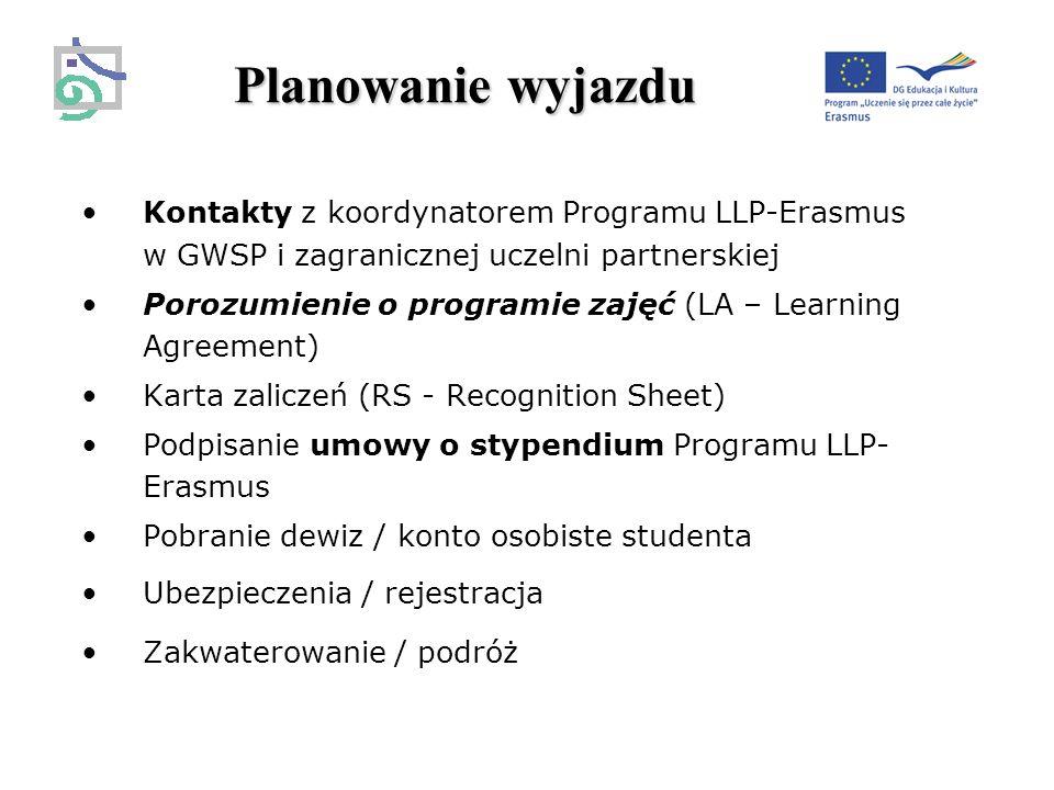 Planowanie wyjazdu Kontakty z koordynatorem Programu LLP-Erasmus w GWSP i zagranicznej uczelni partnerskiej Porozumienie o programie zajęć (LA – Learning Agreement) Karta zaliczeń (RS - Recognition Sheet) Podpisanie umowy o stypendium Programu LLP- Erasmus Pobranie dewiz / konto osobiste studenta Ubezpieczenia / rejestracja Zakwaterowanie / podróż