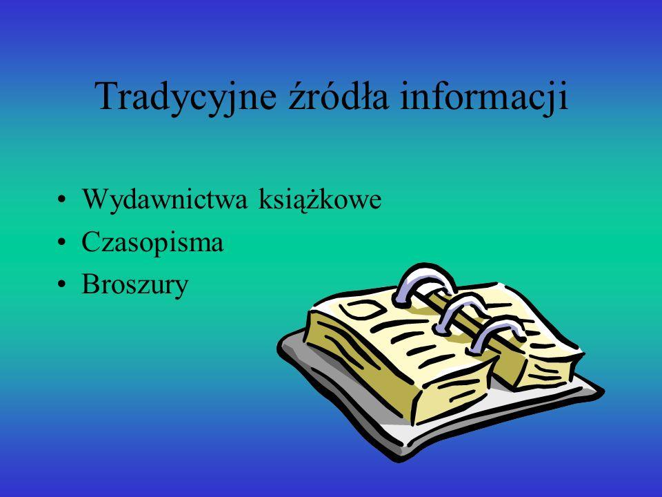 Tradycyjne źródła informacji Wydawnictwa książkowe Czasopisma Broszury