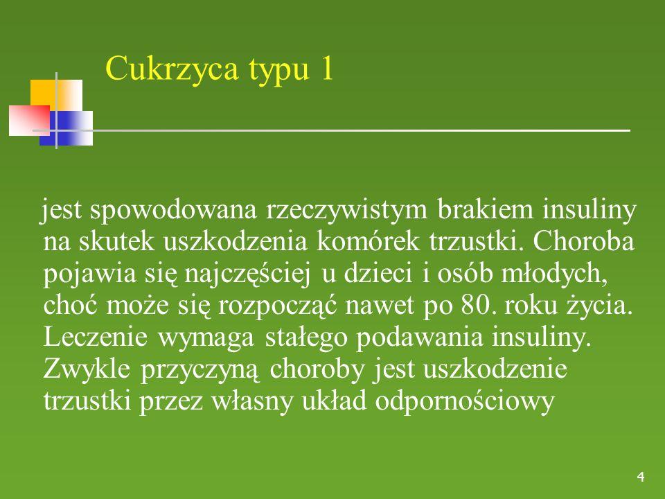 Cukrzyca typu 2 Najczęstsza postać cukrzycy.