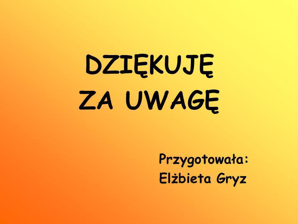 DZIĘKUJĘ ZA UWAGĘ Przygotowała: Elżbieta Gryz