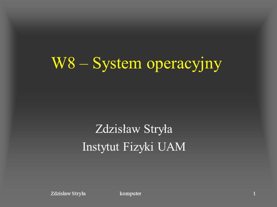 Zdzisław Stryła komputer12 Proste systemy wsadowe Przetwarzanie przerwań Sterowniki urządzeń Szeregowanie zadań Interpreter języka sterowania Obszar programu użytkownika monitor