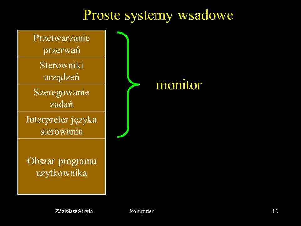 Zdzisław Stryła komputer12 Proste systemy wsadowe Przetwarzanie przerwań Sterowniki urządzeń Szeregowanie zadań Interpreter języka sterowania Obszar p