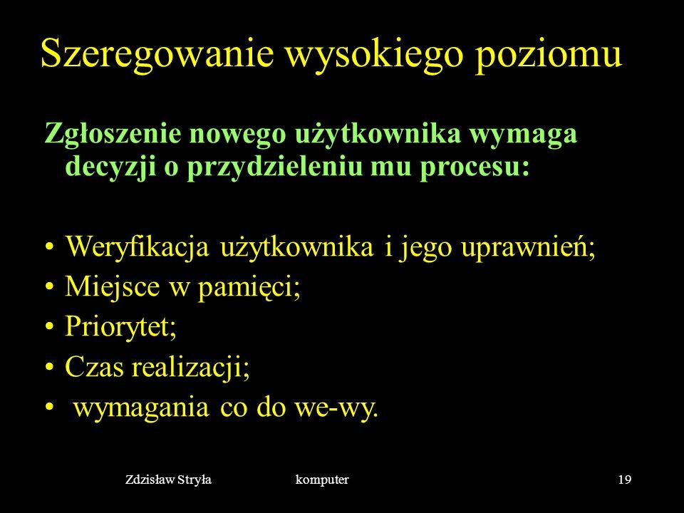 Zdzisław Stryła komputer19 Szeregowanie wysokiego poziomu Zgłoszenie nowego użytkownika wymaga decyzji o przydzieleniu mu procesu: Weryfikacja użytkow