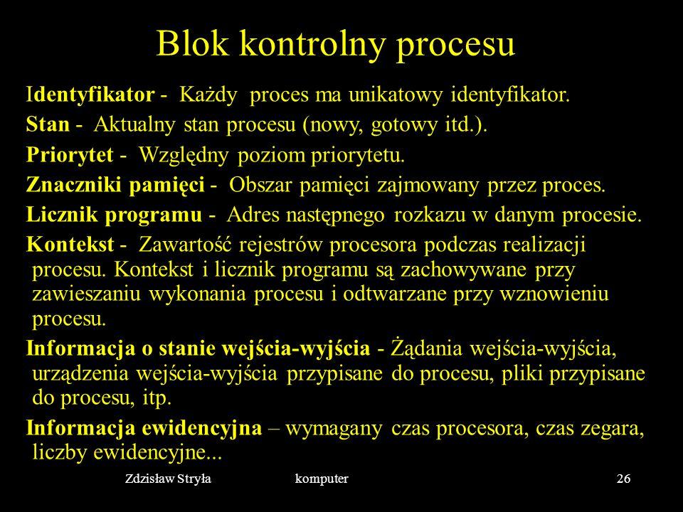 Zdzisław Stryła komputer26 Blok kontrolny procesu Identyfikator - Każdy proces ma unikatowy identyfikator. Stan - Aktualny stan procesu (nowy, gotowy