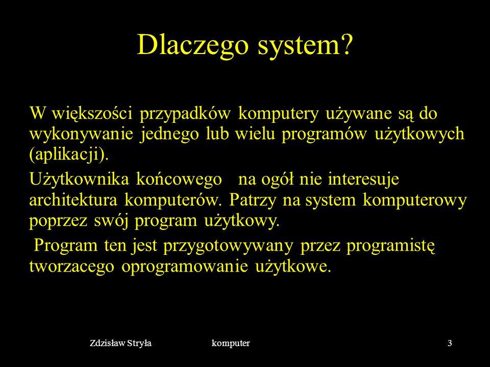 Zdzisław Stryła komputer3 Dlaczego system? W większości przypadków komputery używane są do wykonywanie jednego lub wielu programów użytkowych (aplikac