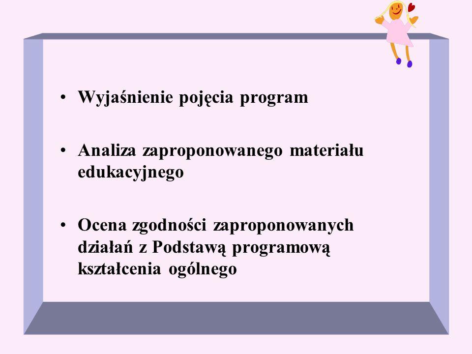 Wyjaśnienie pojęcia program Analiza zaproponowanego materiału edukacyjnego Ocena zgodności zaproponowanych działań z Podstawą programową kształcenia o