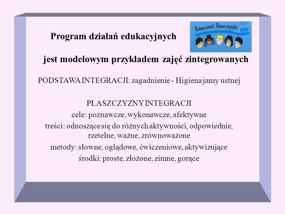 Program działań edukacyjnych jest modelowym przykładem zajęć zintegrowanych PODSTAWA INTEGRACJI: zagadnienie - Higiena jamy ustnej PŁASZCZYZNY INTEGRA