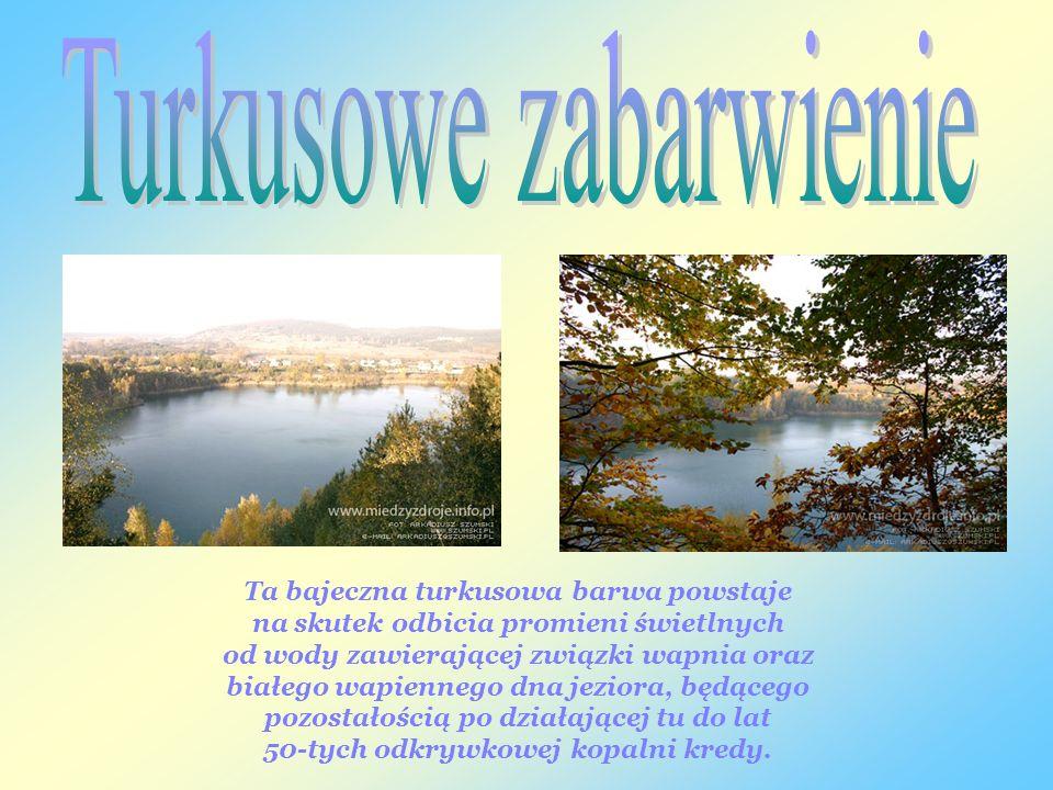 Ta bajeczna turkusowa barwa powstaje na skutek odbicia promieni świetlnych od wody zawierającej związki wapnia oraz białego wapiennego dna jeziora, będącego pozostałością po działającej tu do lat 50-tych odkrywkowej kopalni kredy.
