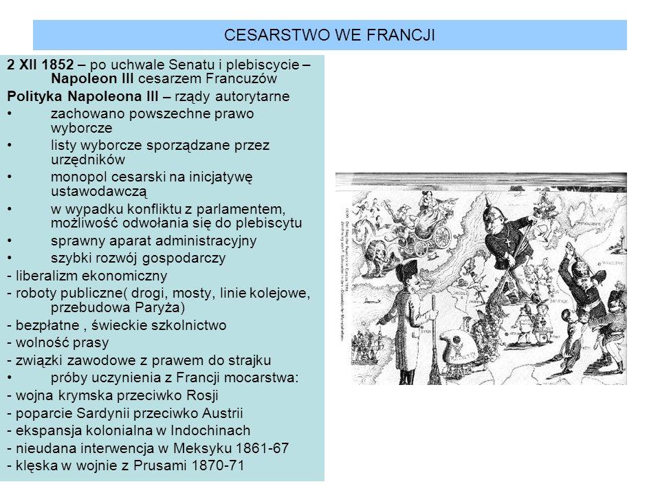 CESARSTWO WE FRANCJI 2 XII 1852 – po uchwale Senatu i plebiscycie – Napoleon III cesarzem Francuzów Polityka Napoleona III – rządy autorytarne zachowa