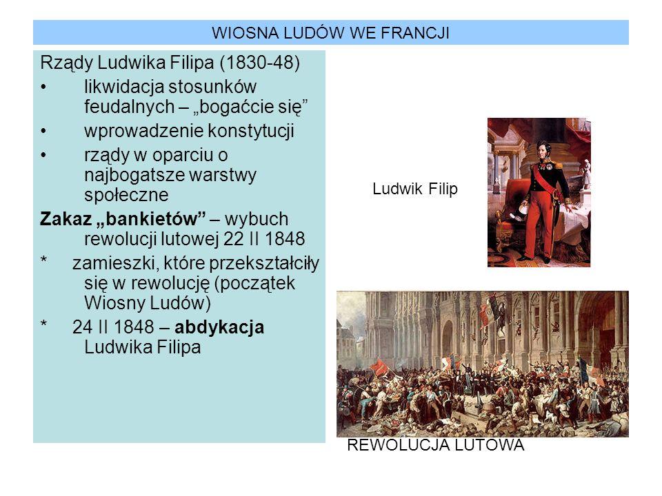 WIOSNA LUDÓW WE FRANCJI Rządy Ludwika Filipa (1830-48) likwidacja stosunków feudalnych – bogaćcie się wprowadzenie konstytucji rządy w oparciu o najbo