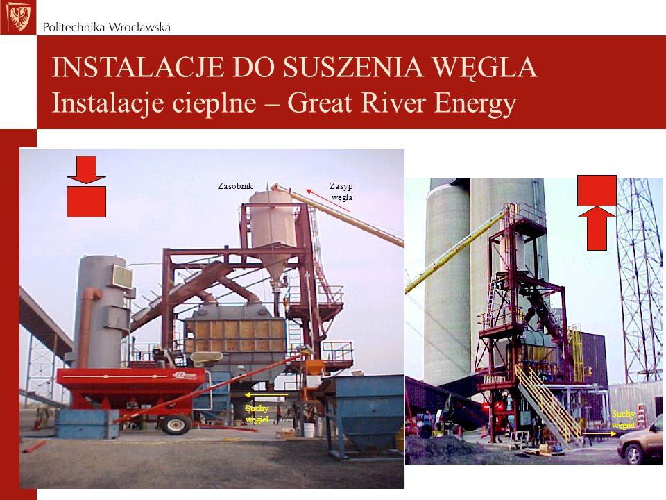 INSTALACJE DO SUSZENIA WĘGLA Instalacje cieplne – Great River Energy Zasyp węgla Zasobnik Suchy węgiel Suchy węgiel