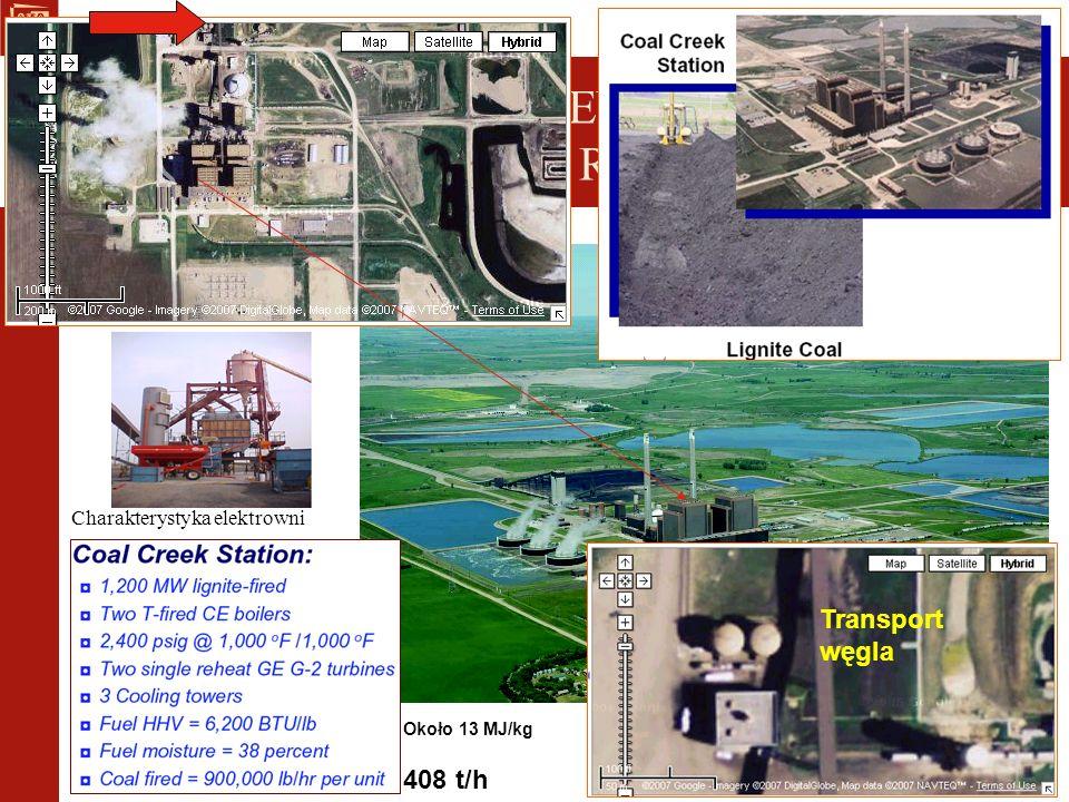 Charakterystyka elektrowni INSTALACJE DO SUSZENIA WĘGLA Instalacje cieplne – Great River Energy 408 t/h Około 13 MJ/kg Transport węgla