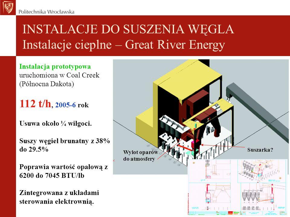 INSTALACJE DO SUSZENIA WĘGLA Instalacje cieplne – Great River Energy Instalacja prototypowa uruchomiona w Coal Creek (Północna Dakota) 112 t/h, 2005-6 rok Usuwa około ¼ wilgoci.