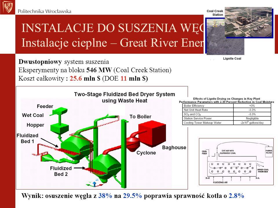 INSTALACJE DO SUSZENIA WĘGLA Instalacje cieplne – Great River Energy Dwustopniowy system suszenia Eksperymenty na bloku 546 MW (Coal Creek Station) Koszt całkowity : 25.6 mln $ (DOE 11 mln $) Wynik: osuszenie węgla z 38% na 29.5% poprawia sprawność kotła o 2.8%