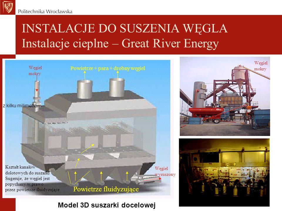 Model 3D suszarki docelowej INSTALACJE DO SUSZENIA WĘGLA Instalacje cieplne – Great River Energy Powietrze fluidyzujące Węgiel wysuszony Węgiel mokry Powietrze + para + drobny węgiel Węgiel mokry Kształt kanałów dolotowych do suszarki Sugeruje, że węgiel jest popychany w prawo przez powietrze fluidyzujące z kilku milimetrów