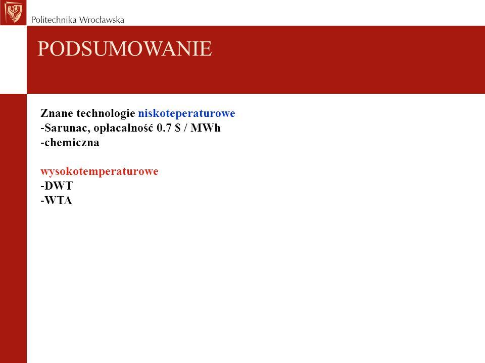 Znane technologie niskoteperaturowe -Sarunac, opłacalność 0.7 $ / MWh -chemiczna wysokotemperaturowe -DWT -WTA PODSUMOWANIE
