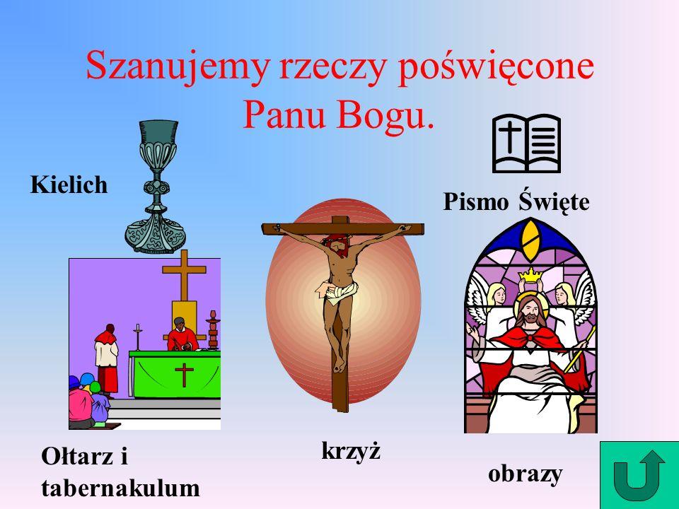 Szanujemy rzeczy poświęcone Panu Bogu. Kielich Ołtarz i tabernakulum krzyż obrazy Pismo Święte