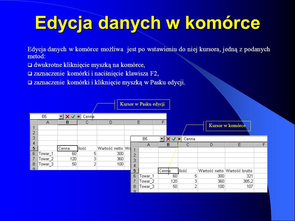 Edycja danych w komórce Edycja danych w komórce możliwa jest po wstawieniu do niej kursora, jedną z podanych metod: dwukrotne kliknięcie myszką na kom
