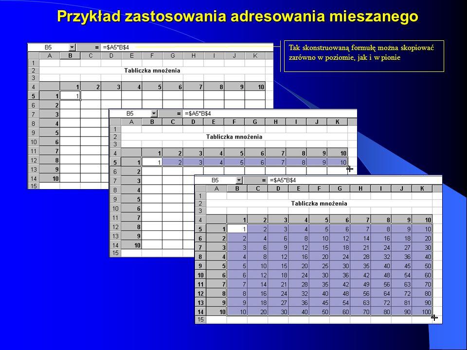 Przykład zastosowania adresowania mieszanego Tak skonstruowaną formułę można skopiować zarówno w poziomie, jak i w pionie