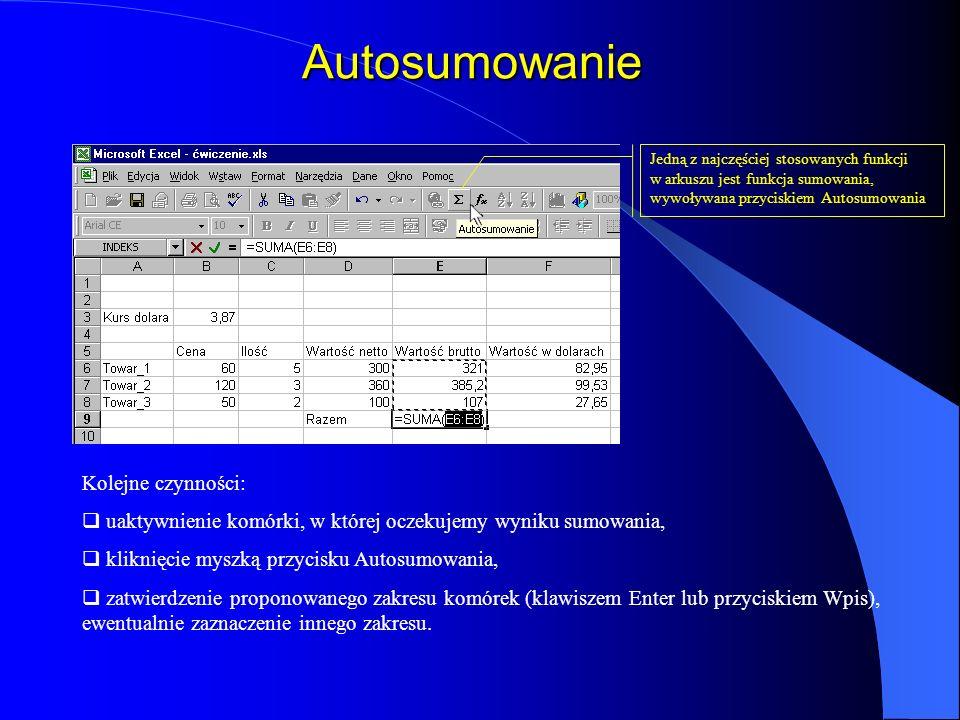 Autosumowanie Jedną z najczęściej stosowanych funkcji w arkuszu jest funkcja sumowania, wywoływana przyciskiem Autosumowania Kolejne czynności: uaktyw