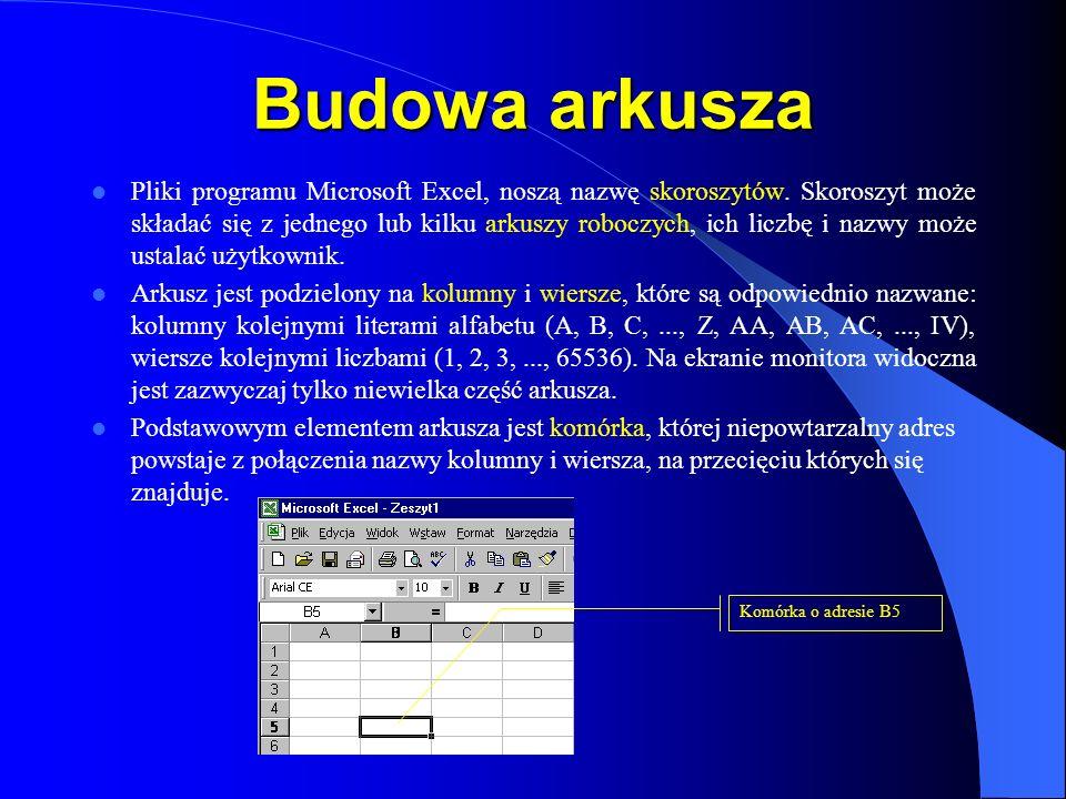 Budowa arkusza Pliki programu Microsoft Excel, noszą nazwę skoroszytów. Skoroszyt może składać się z jednego lub kilku arkuszy roboczych, ich liczbę i