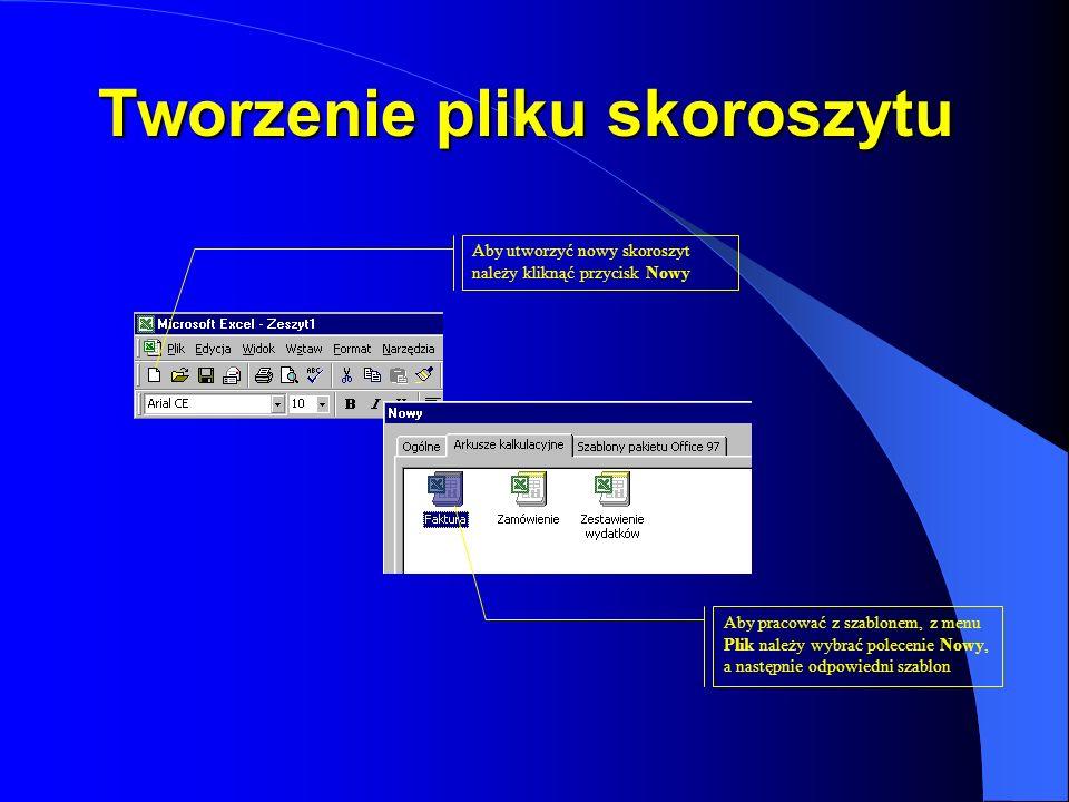 Tworzenie pliku skoroszytu Aby pracować z szablonem, z menu Plik należy wybrać polecenie Nowy, a następnie odpowiedni szablon Aby utworzyć nowy skoros